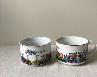 Vintage  Set of 2 Louisiana Worlds Fair coffee or soup mugs-coffee cups- collectible cups- cajun-New Orleans-1984 Louisiana World Exposition
