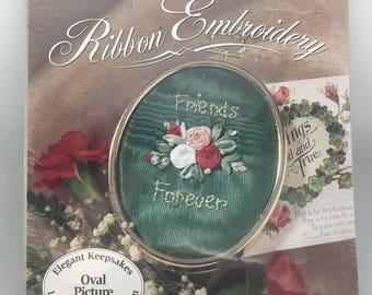 Bucilla Silk Ribbon Embroidery Kit Friends Forever Oval Picture