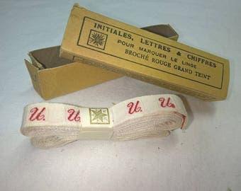 Red Monogram, letters, vintage