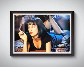 Pulp Fiction Inspired Art Poster Print, Uma Thurman Mia Wallace Poster