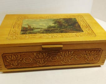 Vintage Hand Carved Wooden Music Box Jewelry Box Keepsake Box with Illustrated Top