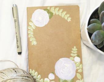Semi-custom purple floral journal, prayer journal, ruled kraft journal, hand-painted journal, floral journal, journal, notebook