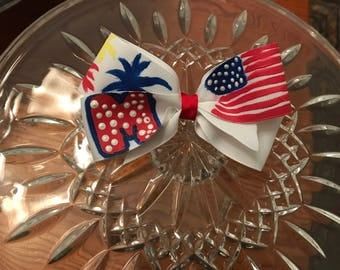 Hand painted 3 inch 4th of July Bow