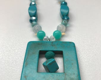 Turquoise Beaded Necklace and Square Pendant