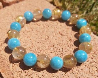 Golden Rutile, DYED Aquamarine Bracelet - Gemstones - Crystals - Handmade - Jewelry - Custom - Stackable - Quartz - Steven Universe - Vegan
