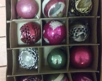 Mid 20th century shiny bright box of 12 ornaments in box