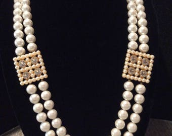 Stunning Vintage Double Strand Faux Pearl Necklace with Faux Crystals