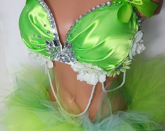 Green floral tinkerbell inspired bra and full tutu