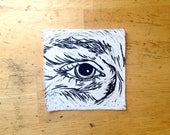 Eye Patches | relief carving | print on muslin | patch