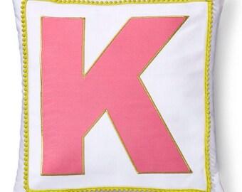 Girls Monogrammed Pillow Sham, K