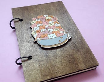Cat wooden notebook A6 | mini journal | diary with cat | notebook with cats | cat journal | cat lover notebook | cat book cover |