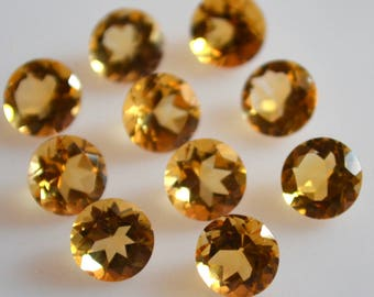 10 mm natural citrine round faceted  loose gemstone AAA quality