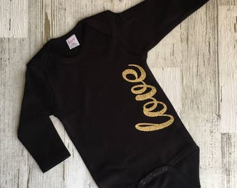 Gold Longsleeve Love Infant Bodysuit by LoveJo&Co For Baby, Kids Clothing Sizes Newborn- 12-18 months