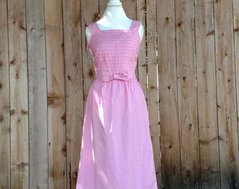 Pretty in pink 80's dress, Valentine's day dress, Lanz originals, 80's sundress, garden party, cotton, sheath dress, bow, size 6