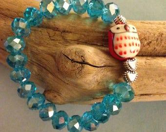 Glass crystal and owl bracelet