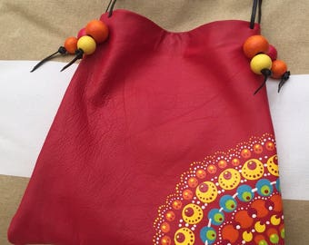 Leather Shoulder Bag,  Hand-painted Purse with Beads - Leather Purse