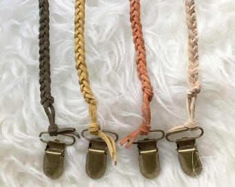 Suede Leather Braided Pacifier Clip Binky Paci Natural Sensory Baby Natural Montessori Eco-friendly Gift Shower Non-toxic Organic Neutral