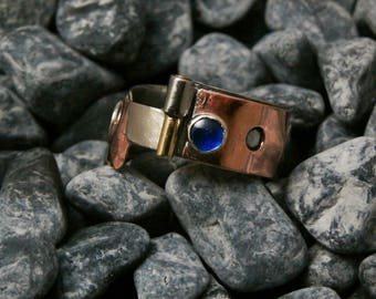 Blue Spinel ring. Stainless steel and copper ring.