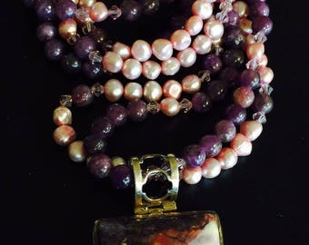 Mixed beads with beautiful stone pendant