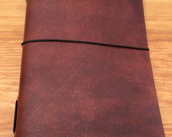 Leather Traveler's Style Journal/Notebook Refillable - British Tan