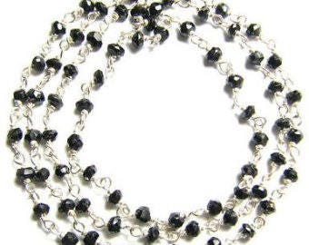 Black Spinel Rosary Chain, Silver Plated Wire Wrapped Rosary Chain, Black Spinel Silver Rosary Chain, 3-3.5 mm, Sold By Foot (SPL-0184)