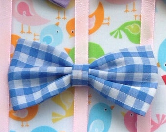 Blue and white gingham fabric hair bow small or large