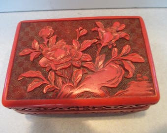 Chinese Cinnabar Flower Lacquer Box