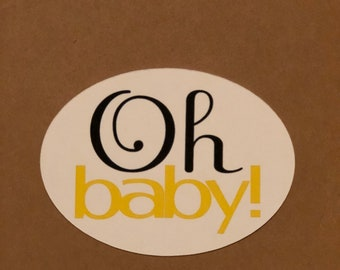 Baby Shower Favor Tags- Oh Baby!-Custom order- set of 12 tags