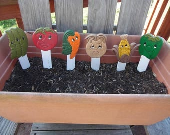 Set of 6 Ceramic Character Garden Markers