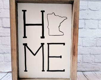 Minnesota Home Wood Framed Sign