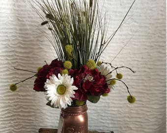 Artificial Floral Arrangement with Peonies, Daisies, Tall Onion Grass and Mini Cattails in a Painted Mason Jar