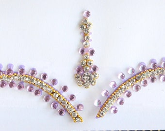 Light Purple Bridal Forehead Bindi Stickers,Purple Bindis,Light Purple Bindis,Bollywood Bindi,Long Light Purple Bindi,Self Adhesive Stickers