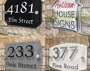 Modern House Sign Door Number Street Address Plaque Acrylic