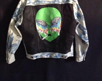 Ayy Lmao Alien BassFace painted tie-dye Jean Jacket