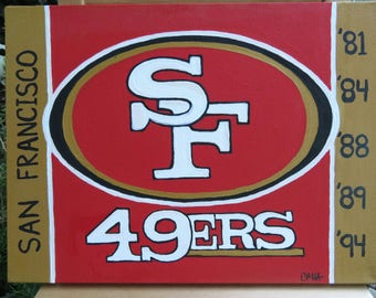 "49ers Logo Hand Painted on Canvas 12""x16"" - Sports Team Wall Art - Handmade Gift - Football Painting - Man Cave Gift"