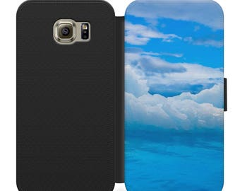 Simplistic blue sky and clouds flip wallet phone case for iphone 4 5 6 7, Samsung s2 s3 s4 s5 s6 s7 S8 S8 plus and more