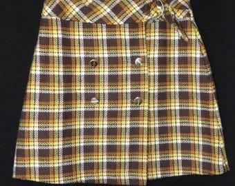 Original Mod GoGo Vintage 70s Plaid Wool Poly Knit Mini Skirt Metal Buttons & Buckle S M