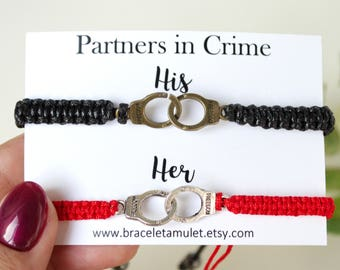Couples jewelry Partners in crime His and her bracelet Couples bracelet Matching bracelets Mr & Mrs Best friend bracelet Friendship bracelet