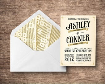 Vintage Typography Printable Wedding Invitation Package