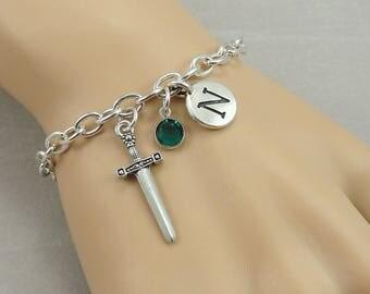 Medieval Sword Charm Bracelet, Dagger Bracelet, Initial and Birthstone Bracelet, Silver Plated Link Charm Bracelet
