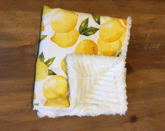 Minky and flannel anubhle blanket-lemons