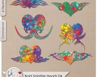 Bold Splatter Hearts 04, Transparent PNG , PNG Elements, Digital Scrapbook Elements, Printable Designers Resources