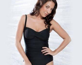 Belvia Shapewear SlimSwim Swimsuit (Black) Size 16-18