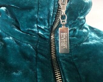 VERSACE velvet jacket Designer clothing Vintage jacket Bomber Emerald Versus Summer jacket Festival jacket  Velvet bomber Gianni Versace XS