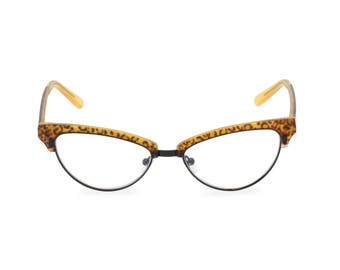 EARTHA Cat Eye; modified from an original 1950s design; Italian LEOPARD acetate & black wire rim. Exquisite, feminine and sexy spectacles