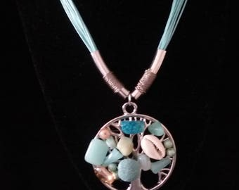 Sky Blue Stone Tree of Life Necklace