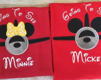 Mickey or Minnie Airplane on a Red top. Going To See Mickey or Minnie. Inspired by Mickey Mouse and Disney.