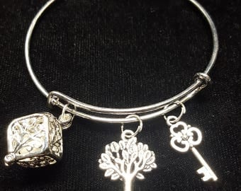 Item 23 * Women's Bangle bracelet with Glow in the dark Tree of Life Charm * Silver Bracelet * includes two other charms Tree & Key