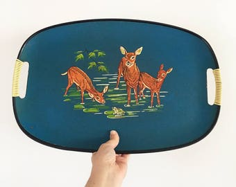Vintage Deer Drinks Serving Tray - mid century retro cocktail barware - 1950s 1960s - jungalow eclectic boho bohemian decor home style #093