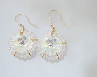 swarovski,crystal,white,clear,gold,earring, gift for her, jewelry for event, bridal earring,set jewelry, white clear earring, set,